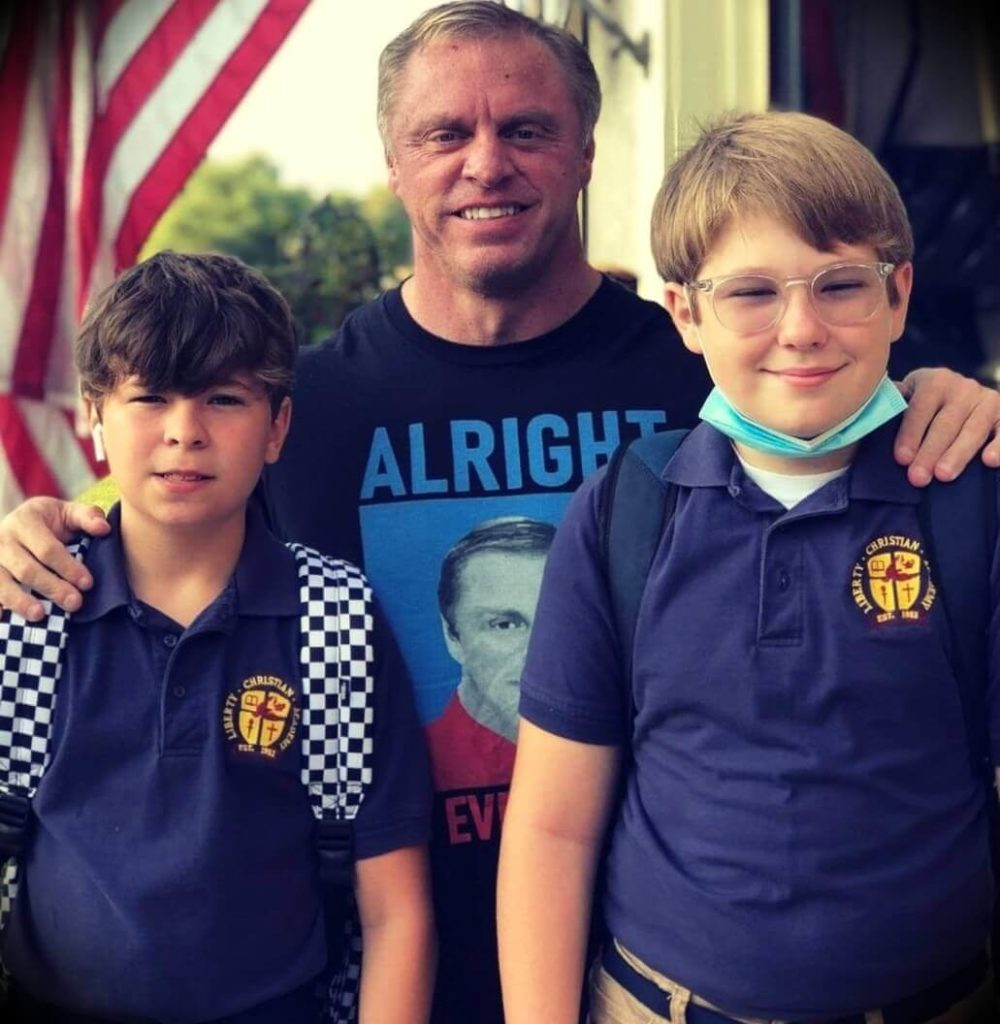 John Meadows with  his  twin sons Jonathan and Alexander
