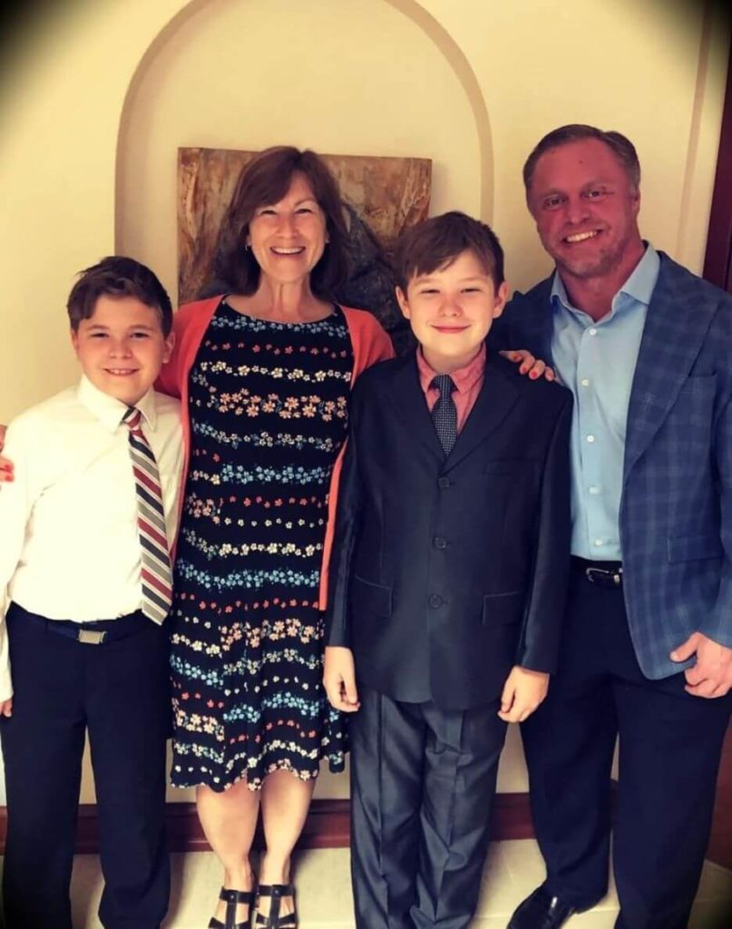 John Meadows with  his wife and their twin sons Jonathan and Alexander