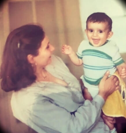 A baby Patrick Bet-David with his mother in Iran