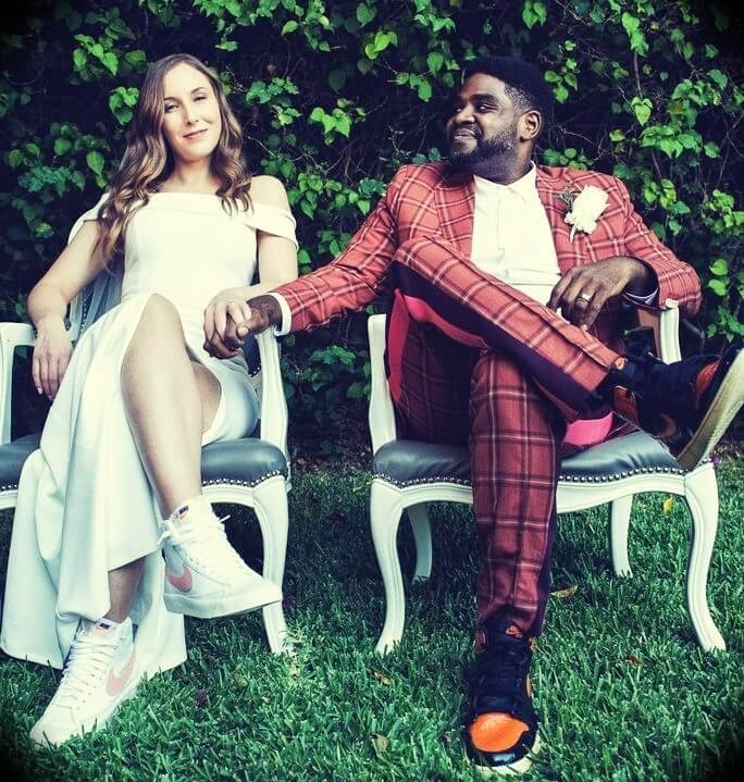 Ron Funches with his wife Christina Funches in their wedding