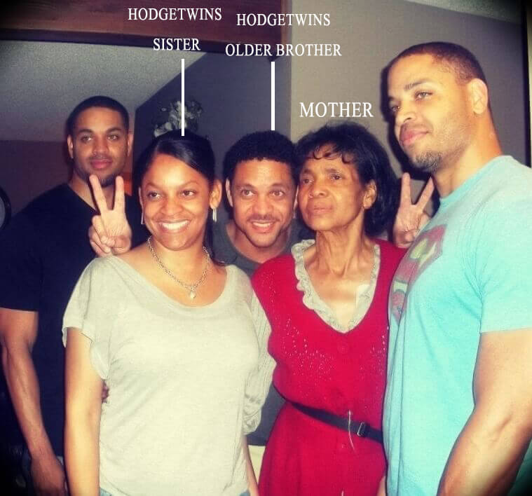 The Hodgetwins with their mother and brother and sister