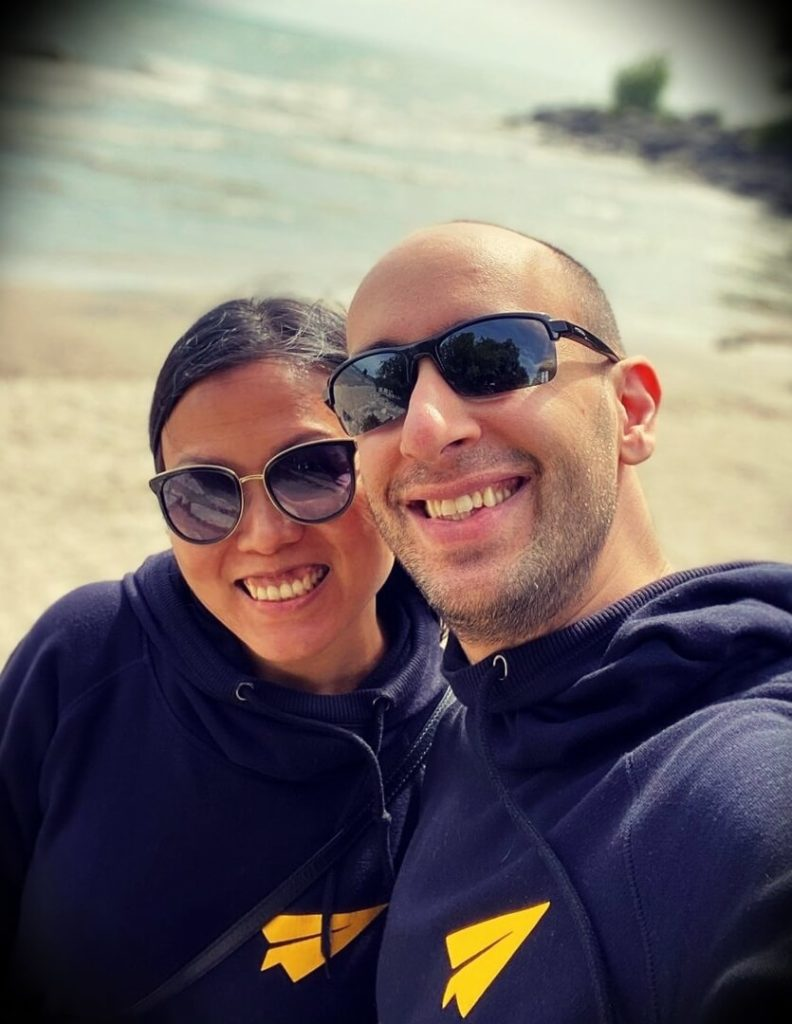 Evan Carmichael with his wife Nina