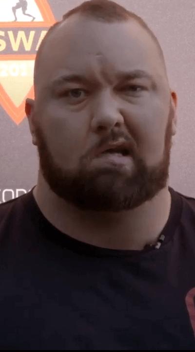 Hafthor Bjornsson's face desease called Bell's palsy