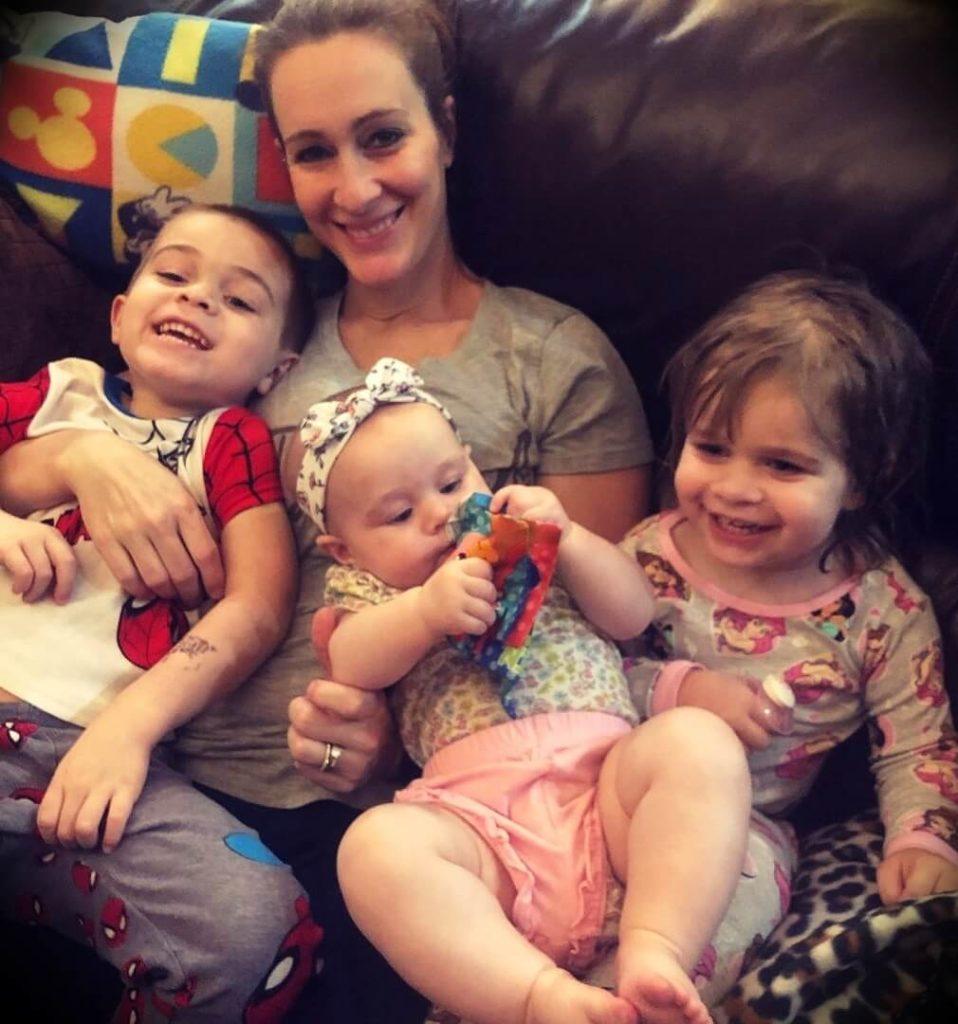 Dave Palumbo's wife Amanda Palumbo with her children
