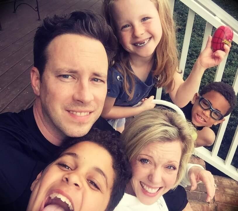 Ken Coleman with his three children
