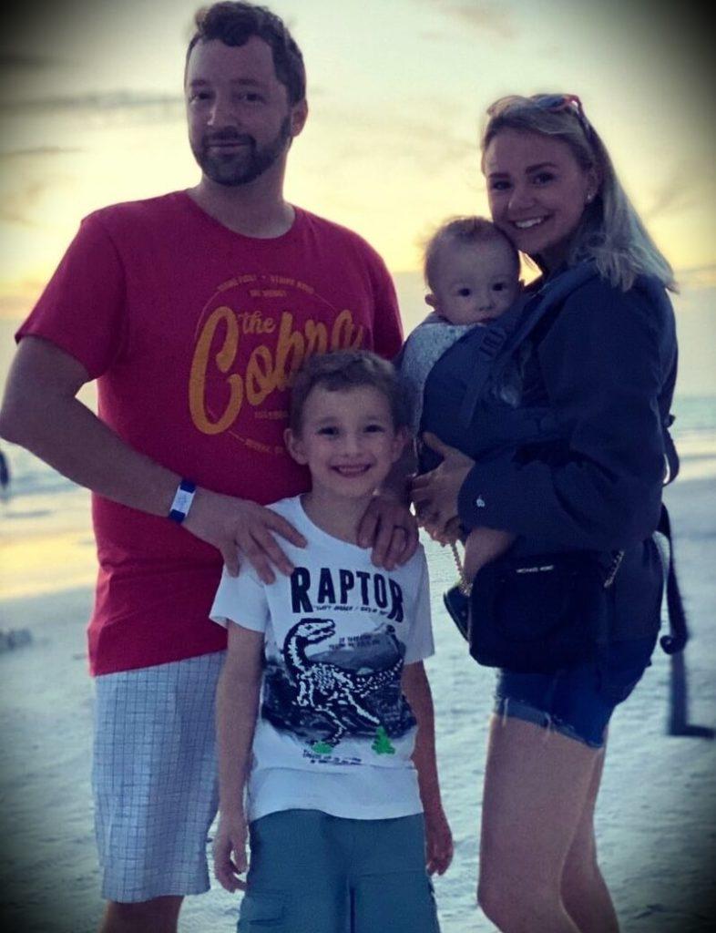 Andy Schrock's wife Brittany Schrock and their children