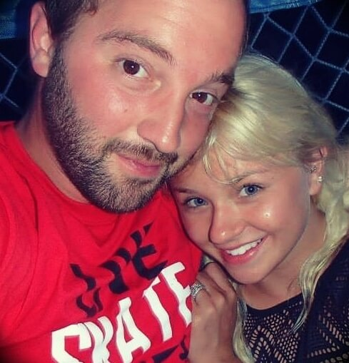 Andy Schrock with his wife Brittany Schrock