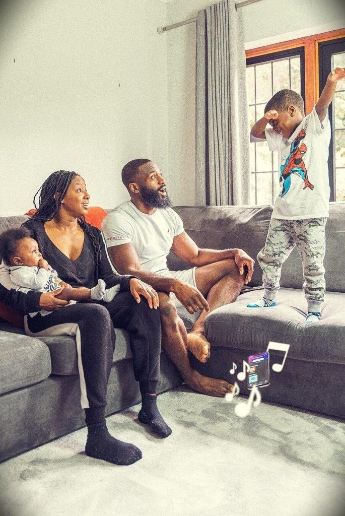 Gabriel Sey with his wife Nyisha Jordan-Sey and their children