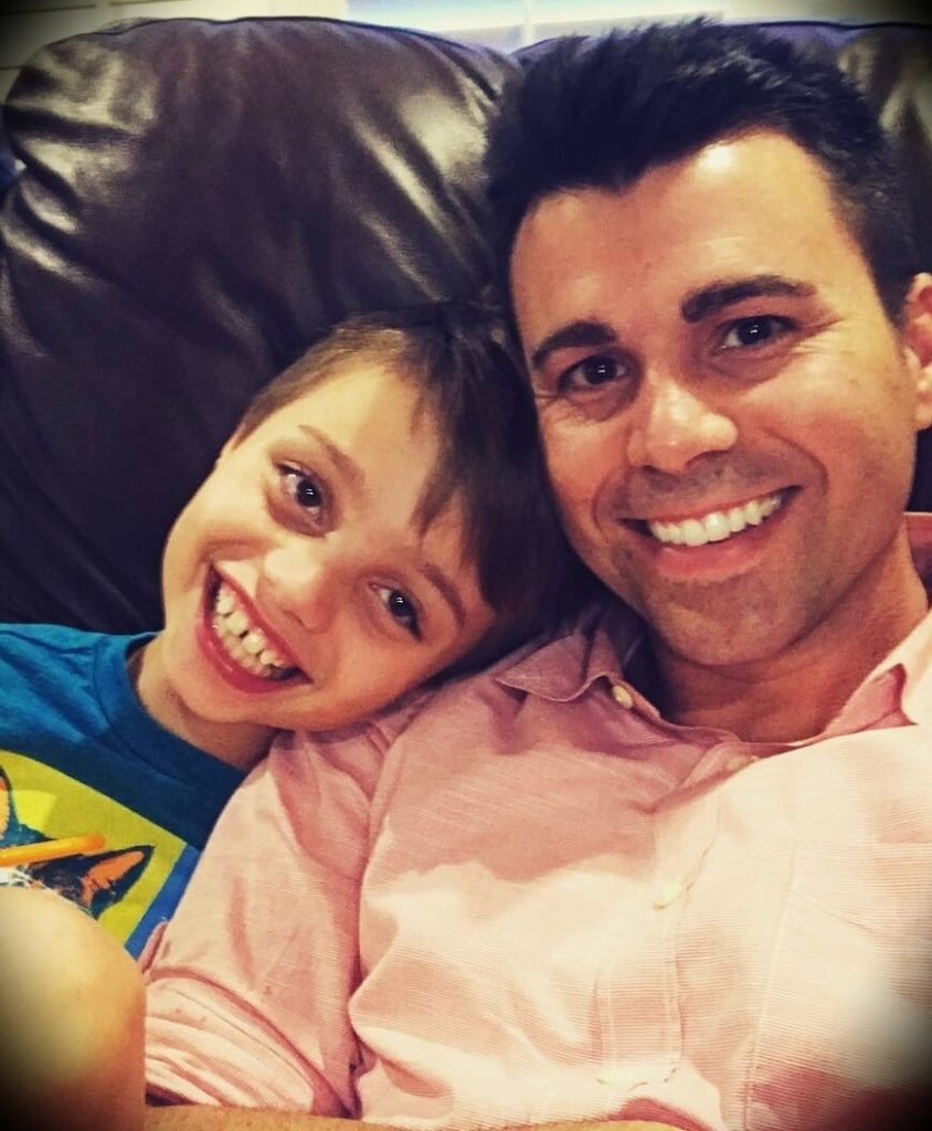 Mark Rober with his son