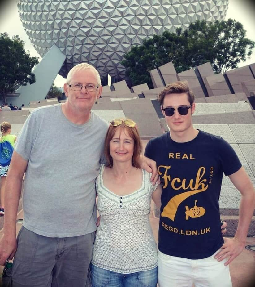 Mark Tilbury with his wife and son
