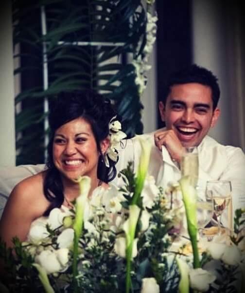 Pat Flynn with his wife April Fynn at their wedding