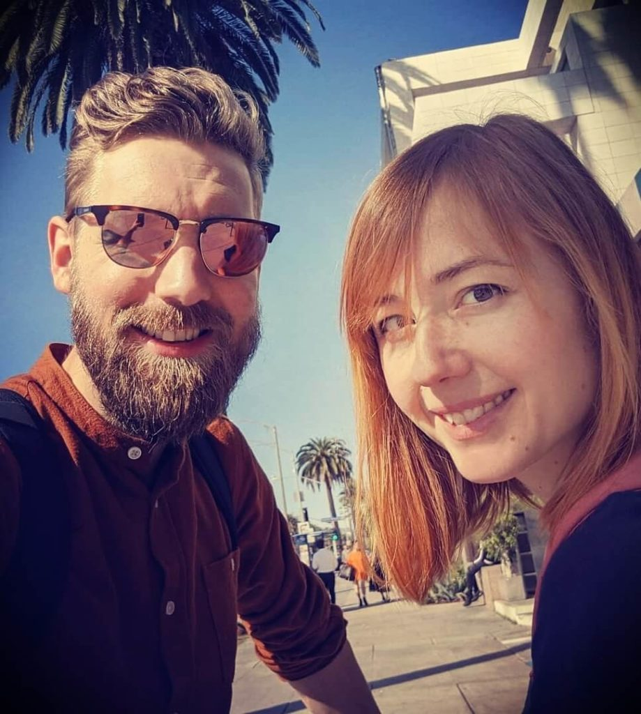 Youtuber and guitarist Paul Davids with his wife