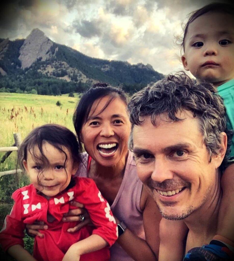 Scott Jurek with his wife Jenny Uehisa and their children