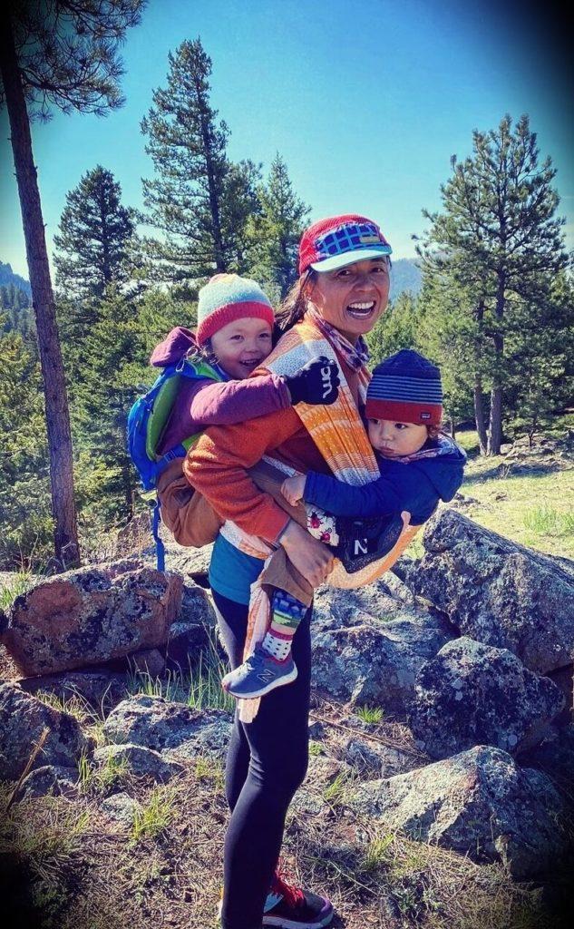 Scott Jurek's wife Jenny Uehisa and their children