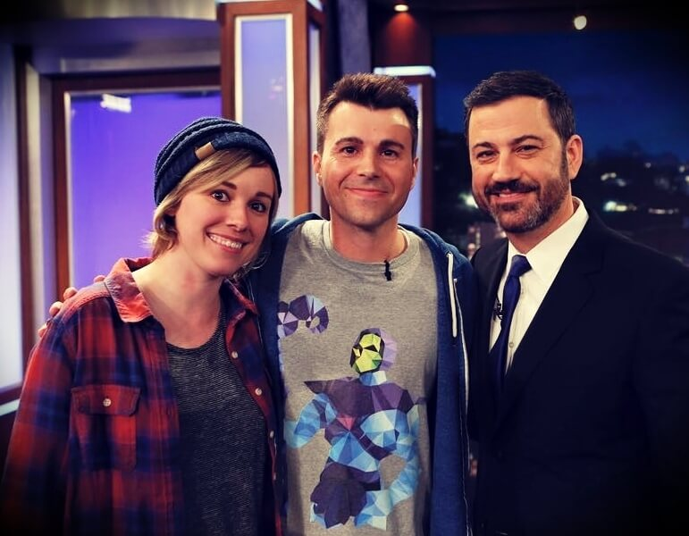Mark Rober with his wife Lisa Rober and Jimmy Kimmel