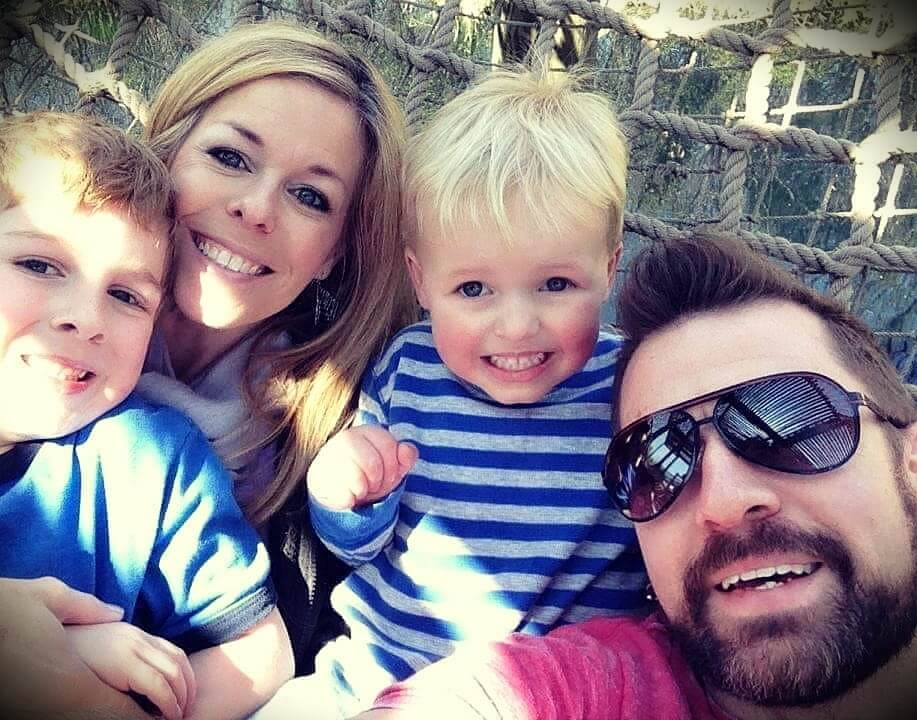 drummer Stephen Taylor with his wife Kelli and their two sons