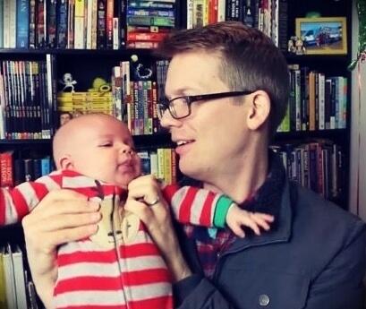 Hank Green with his son Orin