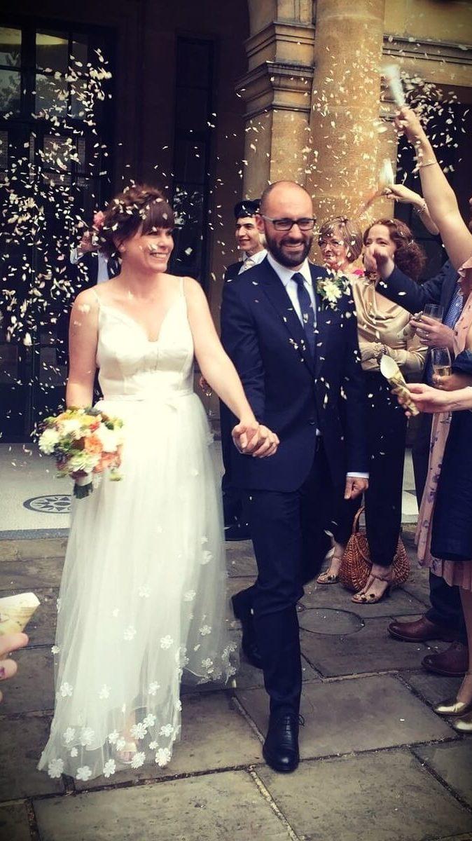 Michael Stevens and Marnie Stevens in their wedding