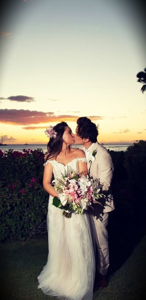 Shin Lim with his wife Casey Kathleen in their wedding