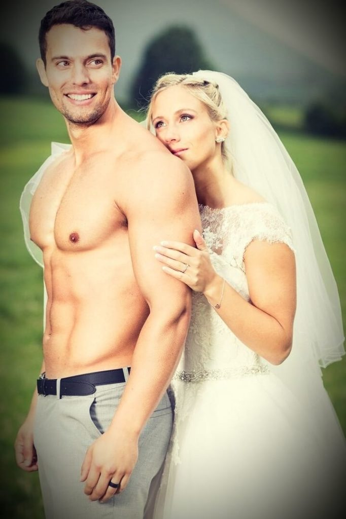 Jon Venus with his wife Kathrine Moen wedding